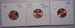 2009 Lincoln Cent Fy Errors Double Die Wddr - 069b,  Wddr - 075c & Wddr - 084u (1) Each photo