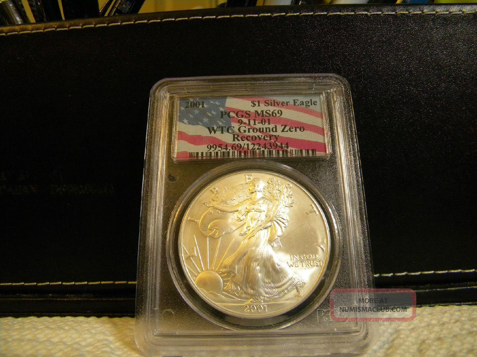 2001 9 11 Wtc Ground Zero 1 Silver Eagle Coin Pcgs Ms69