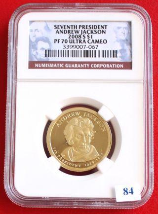 Seventh President Dollar Andrew Jackson 2008 S$1 Pf70 Ultra Cameo photo