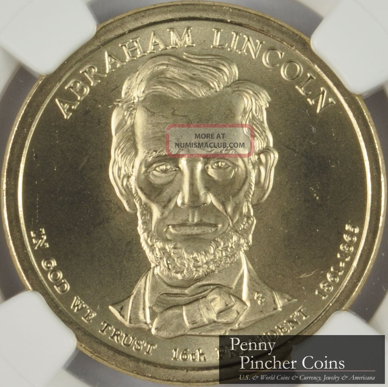 2010 - D Abraham Lincoln Sms Presidential Dollar Ngc Ms - 68 Dollars photo