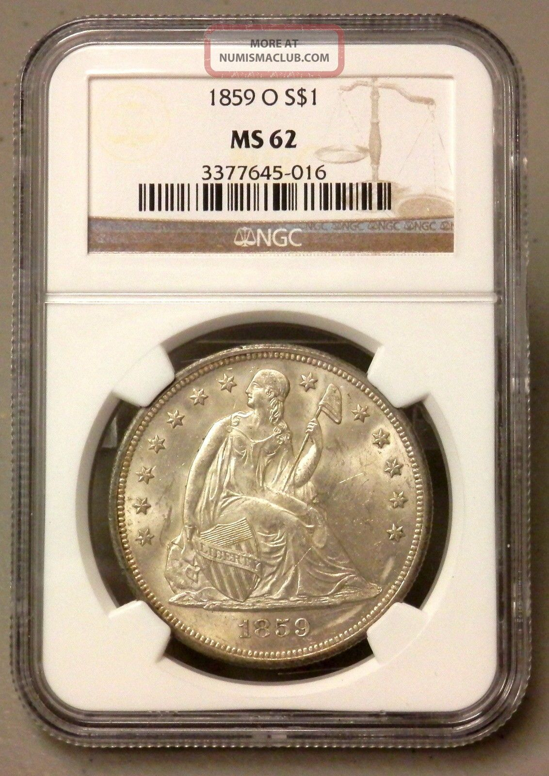 1859 O United States Seated Liberty Silver Dollar - Ngc Graded Ms62 Dollars photo