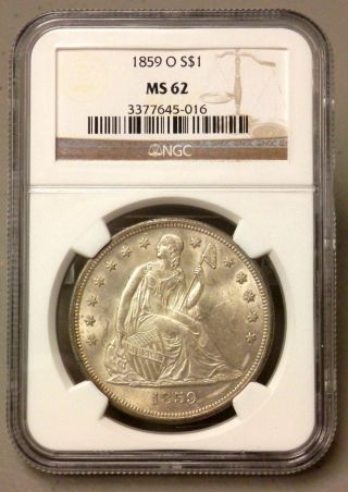 1859 O United States Seated Liberty Silver Dollar - Ngc Graded Ms62 photo