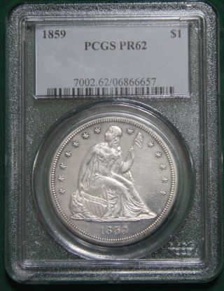 1859 Seated Liberty Silver Dollar Pcgs Pr62 - Proof Toned 800 Minted - Pop Of 45 photo