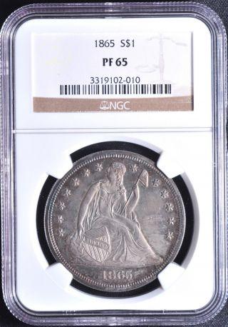 1865 Liberty Seated S$1 Ngc Pr 65 photo