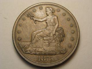 1875 - S Silver Trade Dollar (ef - Au) photo