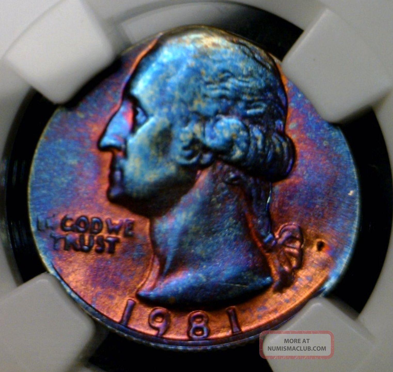 1981 Ngc Ms 66 Washington Quarter On Copper Cent Planchet