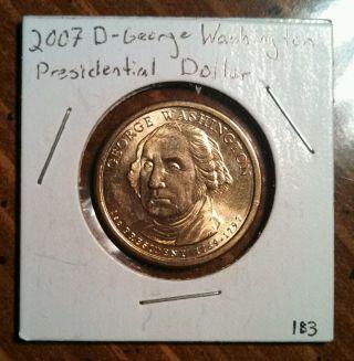 2007 - D $1 George Washington Presidential Dollar photo