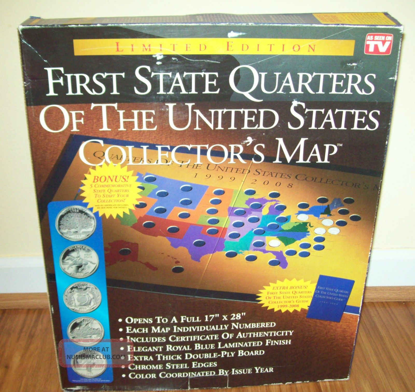 First State Quarters Of The U S Collectors Map Wquarters 1999 - Us-map-for-quarters