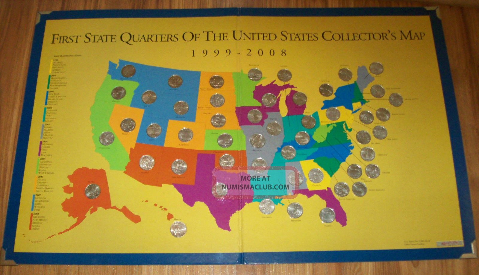First State Quarters Of The U S Collectors Map Wquarters 1999
