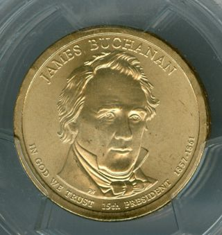 2010 - P James Buchanan Dollar Pcgs Sp68 Satin Pos - B photo