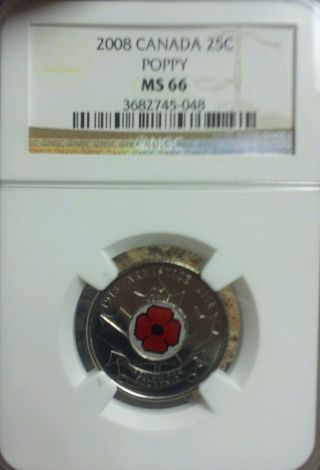 2008 Canada 25 Cent Ngc Ms66 Poppy Quarter Colorized Rarely Certified Low Pop photo