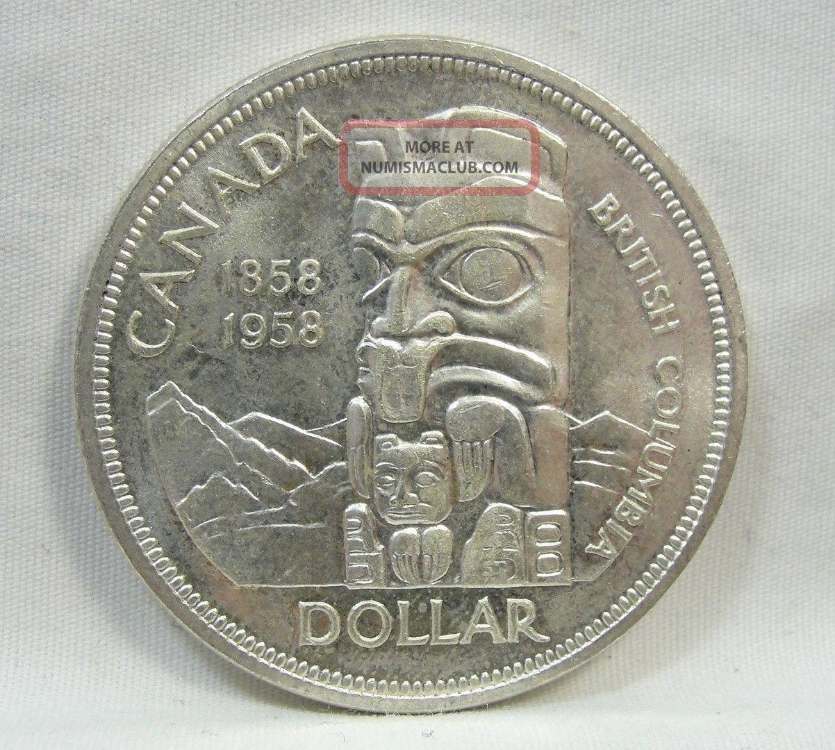 1958 S 1 Canada Dollar British Columbia Commemorative