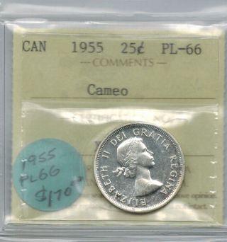 Canada 1955 25 Cents Quarter Iccs Pl 66 Cameo Queen Elizabeth photo