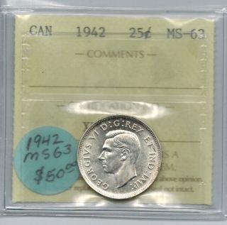 Canada 1942 25 Cents Quarter Iccs Ms 63 photo