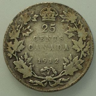 1912 Canada George V 25 Cents Circulated. photo