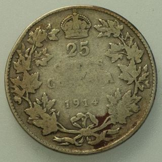 1914 Canada George V 25 Cents Circulated. photo