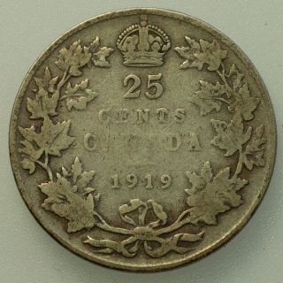 1919 Canada George V 25 Cents Circulated. photo