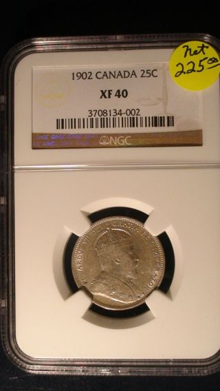 1902 Canada Silver 25 Cents Ngc Xf40 Coin Twenty - Five Quarter photo