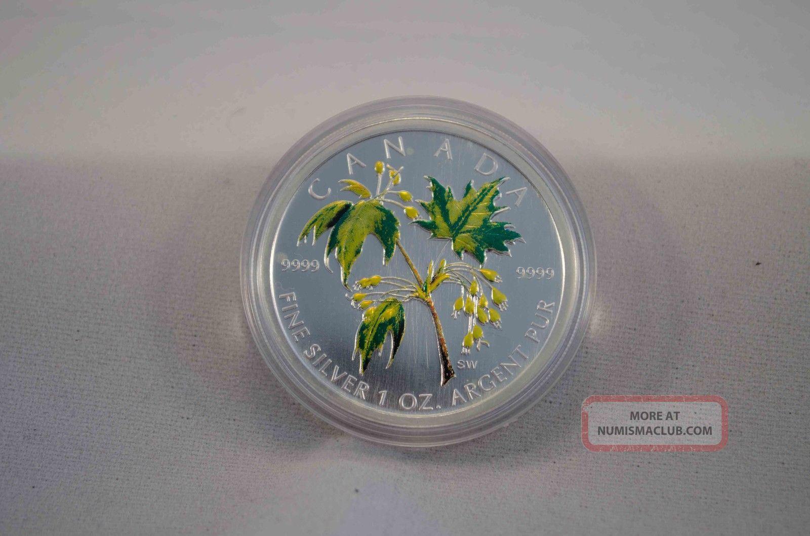 2003 Fine Silver Coloured Maple Leaf