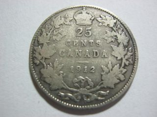 Canada 25 Cents 1912 In F+. photo