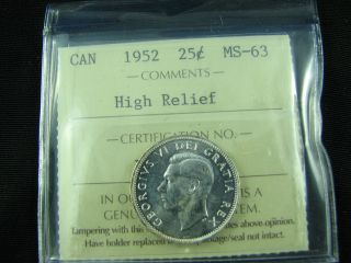 1952 Canada 25 Cents High Relief Ms 63 photo