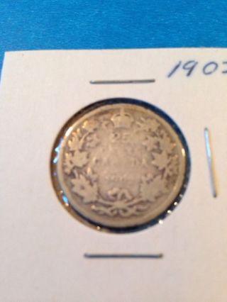 1902 Canada Quarter 80% Silver photo