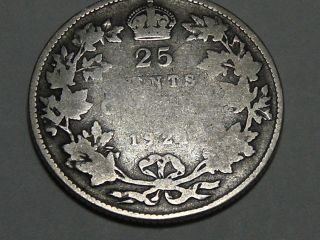 1921 Canadian Silver Twenty - Five Cent Coin 6899a photo