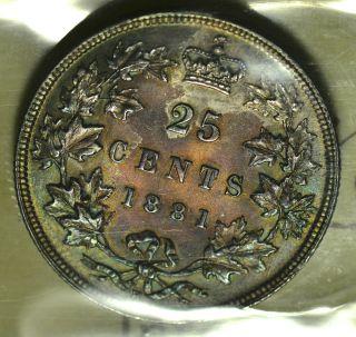 1881h Canada (25¢) Iccs Ms - 63 Pq Top 6 Reddish & Green Toning - Rare photo