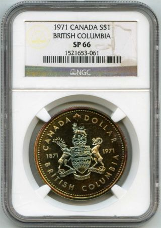 1971 Ngc Sp66 Canada $1 Silver Dollar British Columbia Awesome Toning photo