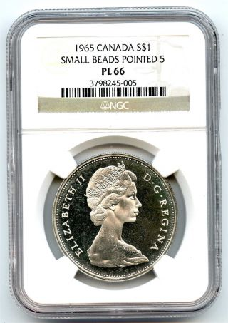 1965 Ngc Pl66 Canada $1 Silver Dollar Small Beads Pointed 5 Proof Like photo