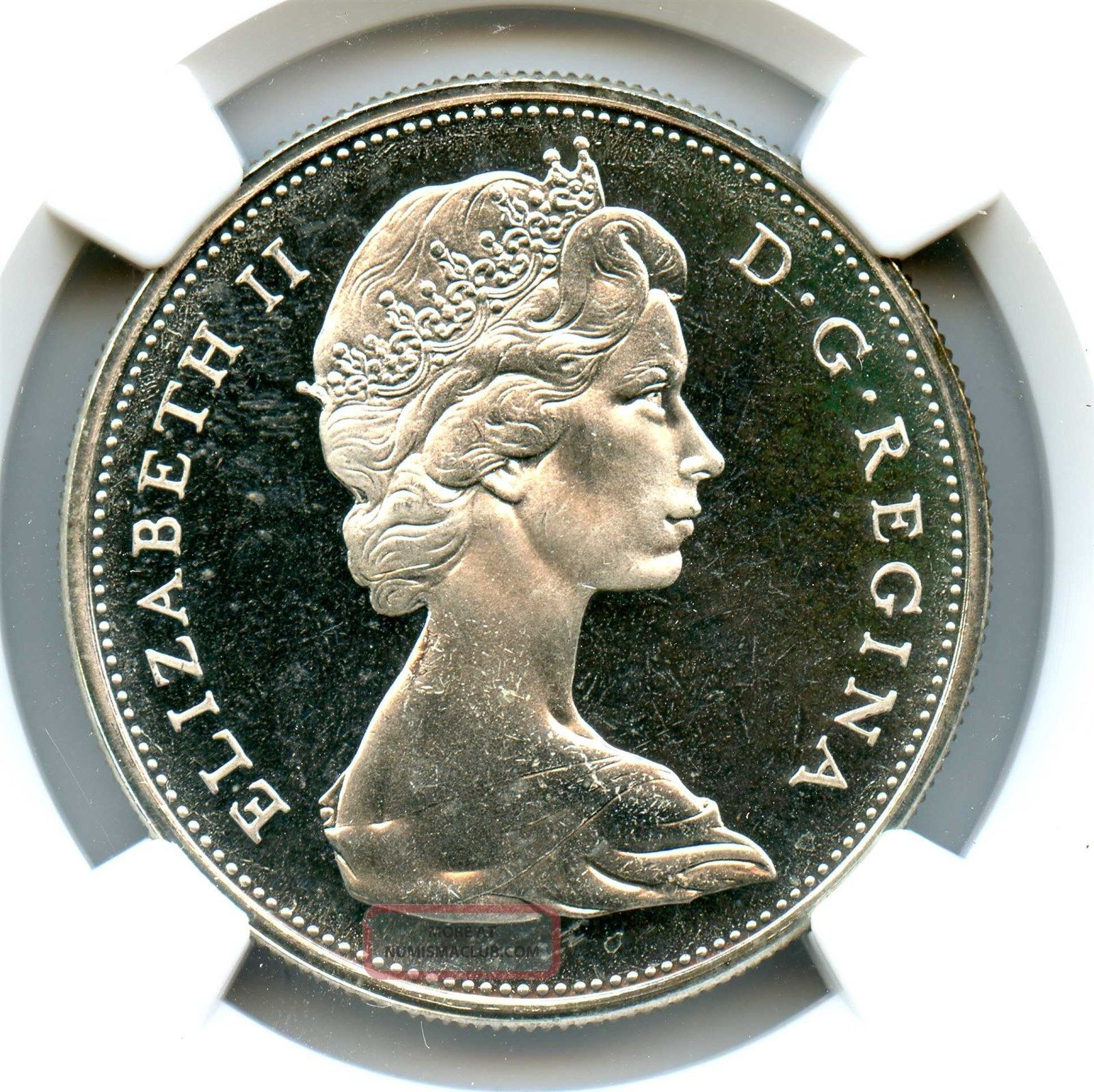 1965 Ngc Pl66 Canada 1 Silver Dollar Small Beads Pointed