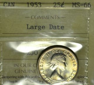 1953 Ld Nsf Cent (25¢) Iccs Ms - 66 Pq Top 2 Full Luster & Gold Toning photo