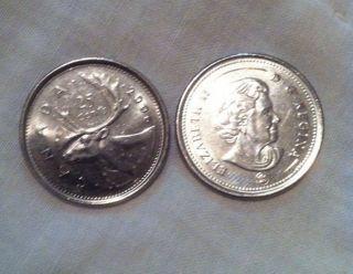 Queen Elizabeth Ii Brilliant 25 Cent Coin 2006 Logo Canada photo