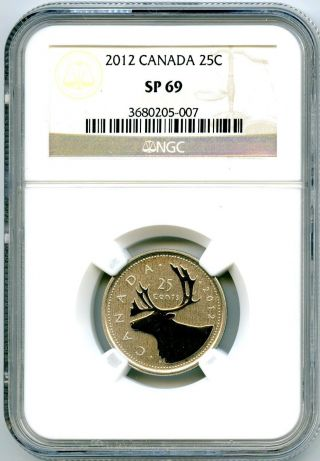 2012 Canada 25 Cent Ngc Sp69 Frosted Specimen Strike Quarter Proof Like photo