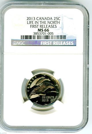 2013 Canada Life In The North Orca Whale Quarter Ngc Ms66 First Releases Rare photo