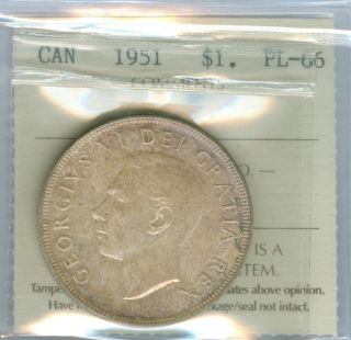 1951 Canada Silver Dollar Top Grade State Pl Neon Toned. photo
