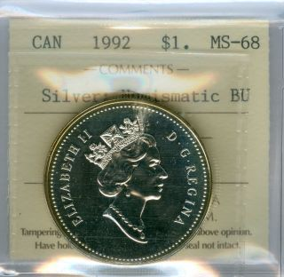 1992 Canada Silver Dollar Finest Graded Bu State 151. photo