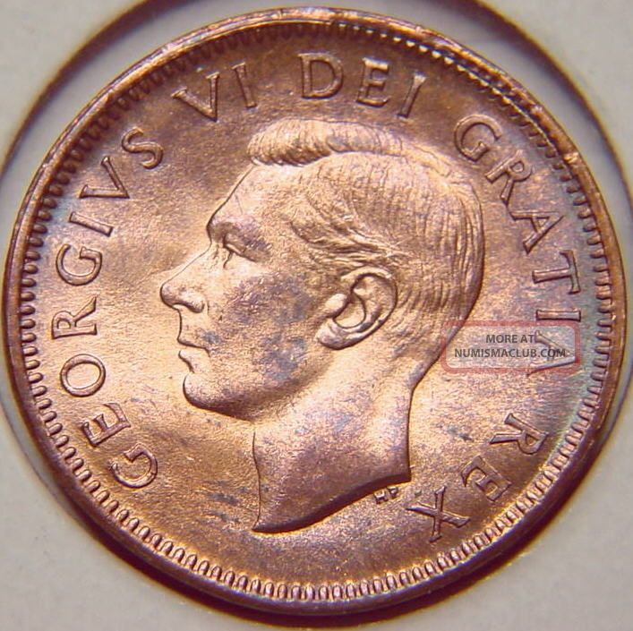 Canada 1949 Rare A To Denticles Cent Penny Unc Scarce In