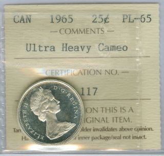 1965 Canada Silver 25 Cents Prooflike Pl Ultra Heavy Cameo Top Grade. photo