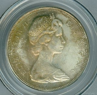 1967 Canada $1 Dollar Pcgs Ms65 2nd Finest Graded Light Toning Rare photo