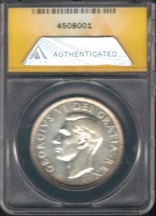 Tmm 1950 Certified Silver Dollar Canada Anacs Au55 photo