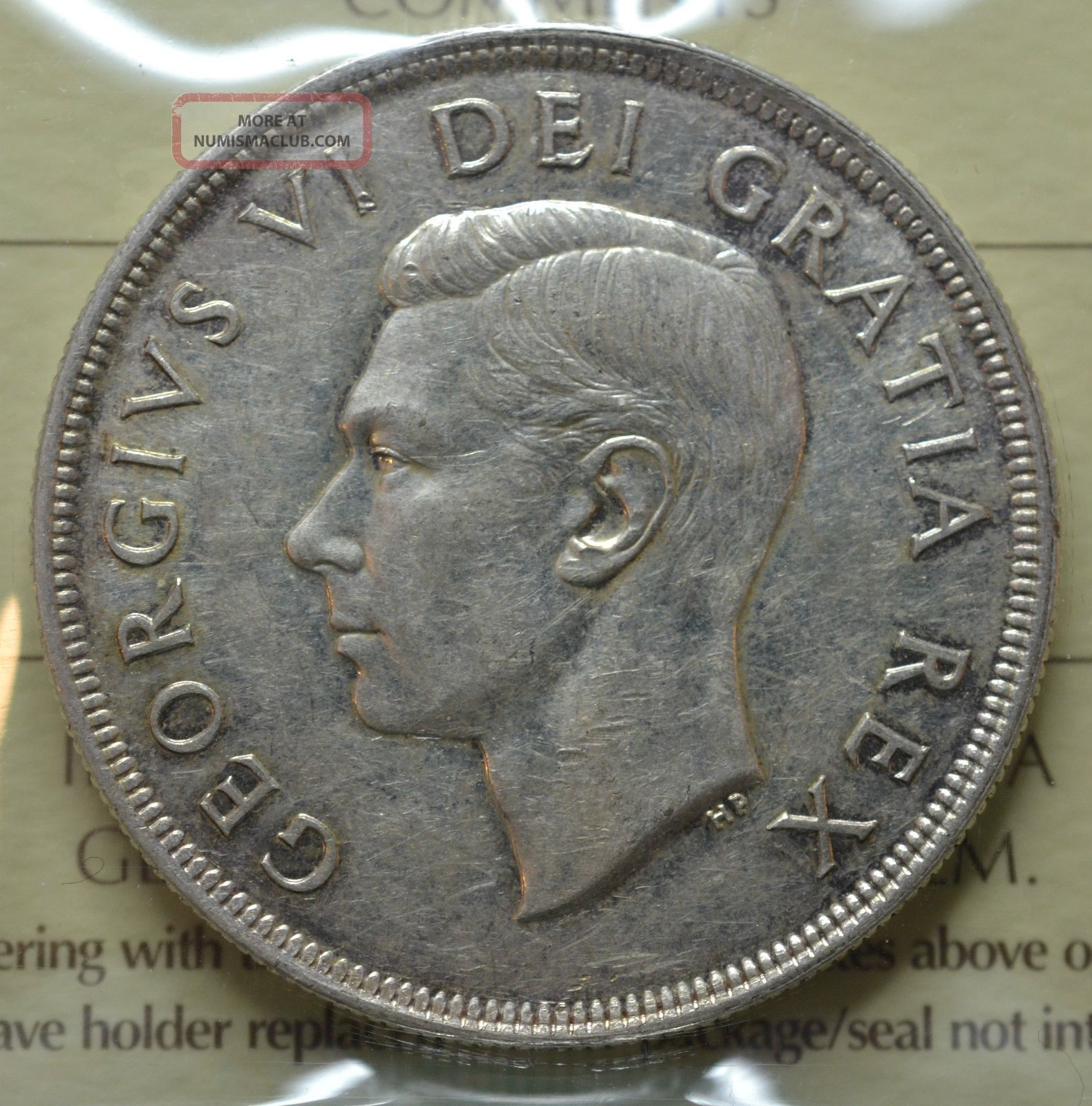 1949 Canadian Silver Dollar Iccs Graded Au 50