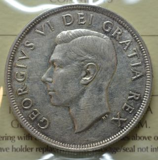1949 Canadian Silver Dollar - Iccs Graded - Au - 50 - photo