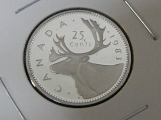 1983 Proof Unc Canadian Canada Caribou Quarter Twenty Five 25 Cent photo