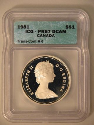 1981 Canadian Dollar - Proof - Nicely Toned On Reverse - Icg Pr67 Dcam - Rail Rd photo