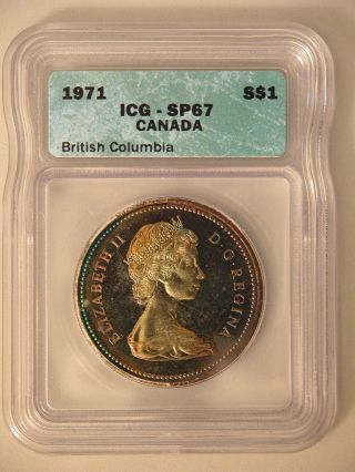 1971 Canadian Dollar - Proof - Nicely Toned On Obverse - Icg Sr67 photo