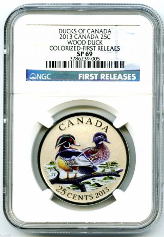 2013 Ducks Of Canada Oversized 25 C Colored Wood Duck Ngc Specimen Graded Coin photo