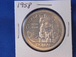 1958 Canada Totem Pole Silver Dollar Canadian B2830 photo