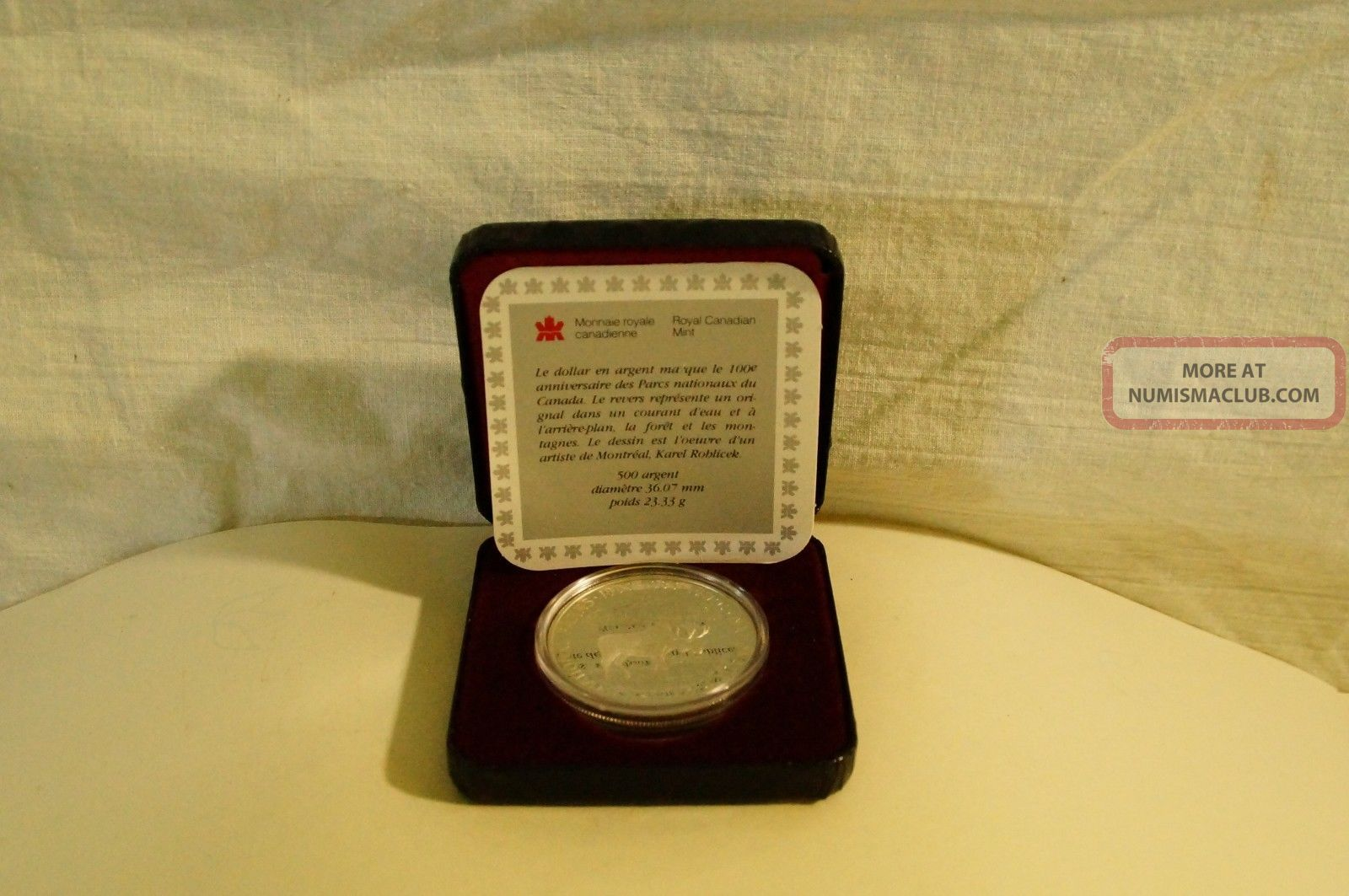 Canada 1985 National Parks Silver Dollar Proof in Case with COA