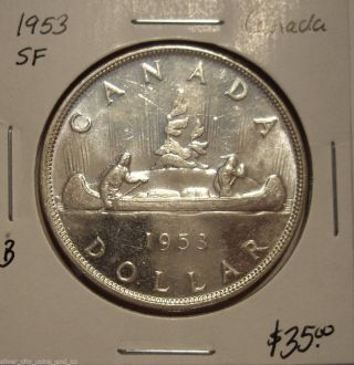 B Canada 1953 Sf Elizabeth Ii Silver Dollar - Unc photo